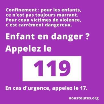 Enfant en danger ? Pendant le confinement, le 119 est à votre écoute !