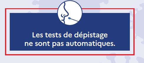 COVID19 : le test de dépistage n'est pas automatique